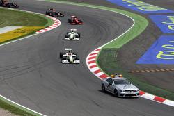 Safety car leads Rubens Barrichello, Brawn GP