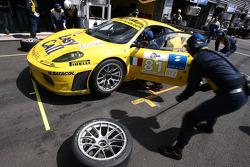 Pit stop for #81 Easyrace Ferrari F430 GT: Maurice Basso, Roberto Plati, Gianpaolo Tenchini