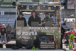 Ernesto Viso, HVM Racing and crew in  the HVM pit control