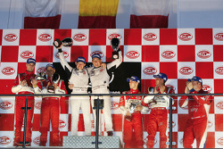GT2 podium: class winners Emmanuel Collard and Richard Westbrook, second place Toni Vilander and Gianmaria Bruni, third place Alvaro Barba Lopez and Niki Cadei