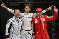 Jenson Button, Brawn GPgets pole position, Rubens Barrichello, Brawn GP 2nd and Kimi Raikkonen, Scuderia Ferrari 3rd