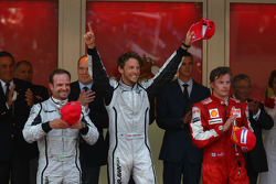 1st place Jenson Button, Brawn GP with 2nd place Rubens Barrichello, Brawn GP and 3rd place Kimi Rai