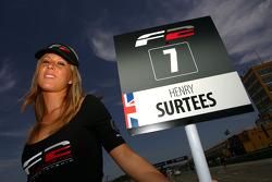 Grid girl for Henry Surtees