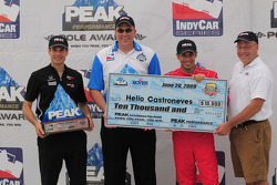 Helio Castroneves and Will Power with the pole award