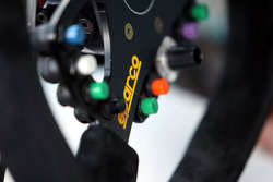 Technical detail BMW, steering wheel of Alex Zanardi, BMW Team Italy-Spain, BMW 320si