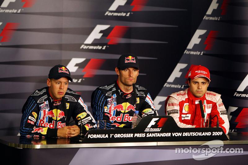 1. Mark Webber, Red Bull Racing; 2. Sebastian Vettel, Red Bull Racing; 3. Felipe Massa, Ferrari