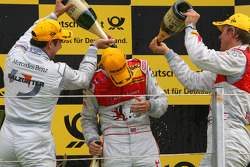 Podium, Oliver Jarvis, Audi Sport Team Phoenix, getting a champaign shower from Gary Paffett, Team HWA AMG Mercedes and Mattias Ekström, Audi Sport Team Abt