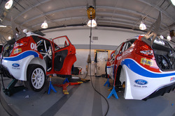 The Pikes Peak Ford Fiesta's are being prepared for practice at Phil Long Ford in Colorado Springs