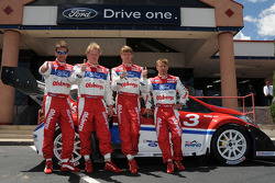 The Pikes Peak Ford challengers, left to right: co driver Per Ola Svenssonand, drivers Andreas Eriksson, Marcus Gronholm, and co-driver Timo Alanne