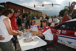 Marcus Gronholm and Andreas Eriksson sign autographs at the fanfest in downtown Colorado Springs