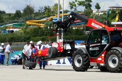 The wrecked Ferrari of Felipe Massa after his crash