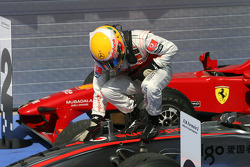 Race winner Lewis Hamilton, McLaren Mercedes, celebrates