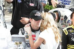 Victory lane: race winner Jimmie Johnson, Hendrick Motorsports Chevrolet celebrates with wife Chaundra