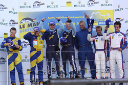 LMGT2 podium: class winners Marc Lieb, Richard Lietz and Horst Felbermayr Sr., second place Tom Coronel and Jarek Janis, third place Pierre Ehret, Dominik Farnbacher and Anthony Beltoise