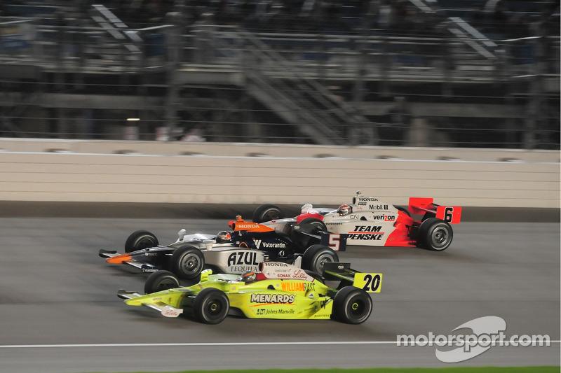 Ed Carpenter, Vision Racing; Mario Moreas, KV Racing Technology; and Ryan Briscoe, Team Penske