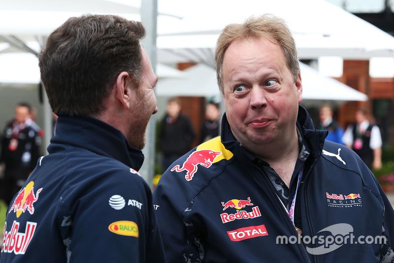 Christian Horner, jefe de equipo de Red Bull Racing, con Andy Palmer, CEO de Aston Martin