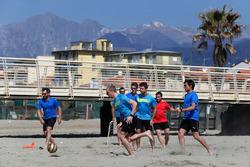 Timo Glock, Maxime Martin, Marco Wittmann, Antonio Felix da Costa und Bruno Spengler, Beachfußball