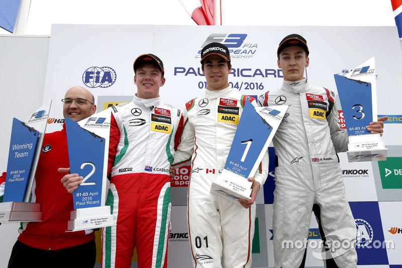 Podio: Ganador Lance Stroll, Prema Powerteam Dallara F312 - Mercedes-Benz; segundo lugar Nick Cassidy, Prema Powerteam Dallara F312 - Mercedes-Benz; tercer lugar George Russell, HitechGP Dallara F312 - Mercedes-Benz