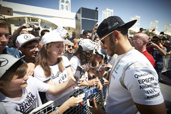 Lewis Hamilton, Mercedes AMG F1 Team signs autographs for the fans