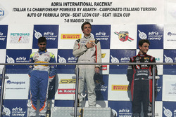 Race 2 rookie podium: Ian Rodriguez Wright, DRZ Benelli, Kush Maini, BVM Racing, Giacomo Altoè, Bhaitech Engineering