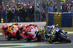 Valentino Rossi, Yamaha Factory Racing, Andrea Dovizioso, Ducati Team, und Marc Marquez, Repsol Honda Team