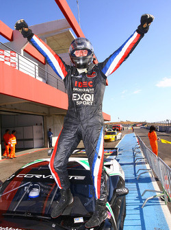 Race winner James Ruffier celebrates