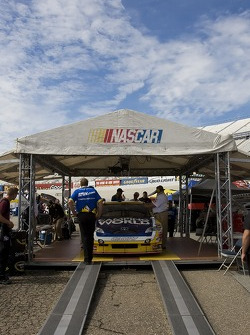 The No. 7 Camping World Toyota crew takes their car through tech
