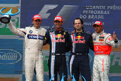 Podium: race winner Mark Webber, Red Bull Racing, second place Robert Kubica, BMW Sauber F1 Team, third place Lewis Hamilton, McLaren Mercedes