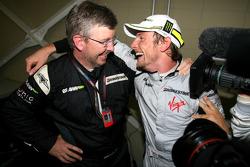 Ross Brawn Team Principal, Brawn GP and Jenson Button, Brawn GP