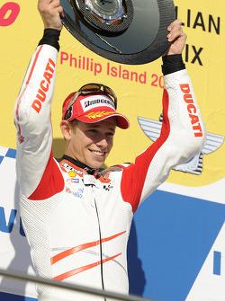 Podium: race winner Casey Stoner, Ducati Marlboro Team