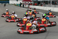 Go-kart event: Mika Kallio leading the start of the race