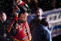 Victory lane: race winner Kyle Busch celebrates