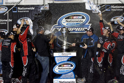 Victory lane: Kyle Busch celebrates win and 2009 Nationwide Series championship with his team