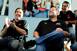 Greg Biffle, Tony Stewart and Juan Pablo Montoya laugh at Las Vegas Motor Speedway for the Roast of four time NASCAR Champion Jimmie Johnson