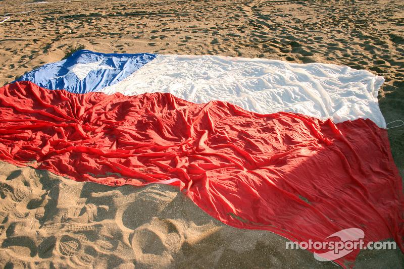 Chileense vlag op het strand