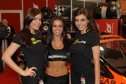 Promo girls at the Team Dynamics Stand