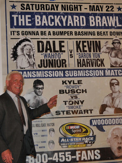 Professional wrestler Ric Flair hoops its up for the NASCAR Sprint All-Star race in May