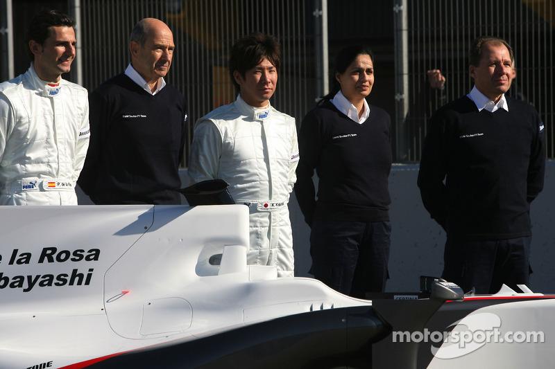 Pedro de la Rosa, BMW Sauber F1 Team, Peter Sauber, Directeur d'écurie, et Kamui Kobayashi, BMW Sauber F1 Team, Willy Rampf, BMW-Sauber, Directeur technique