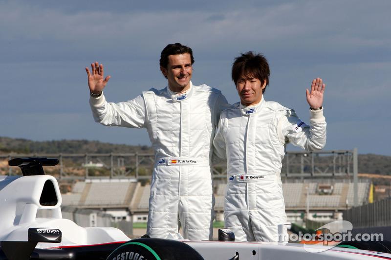 Pedro de la Rosa, BMW Sauber F1 Team et Kamui Kobayashi, BMW Sauber F1 Team