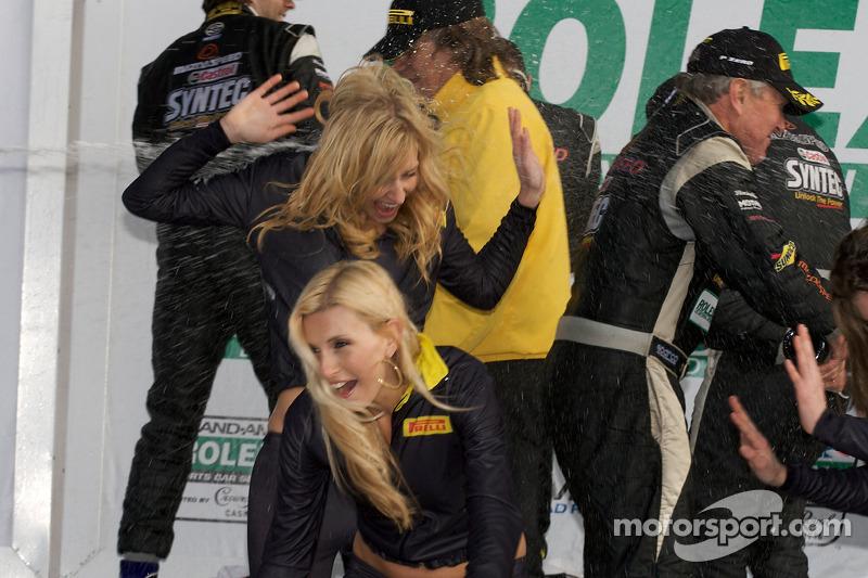 GT podium: Pirelli girls run away as champagne flies