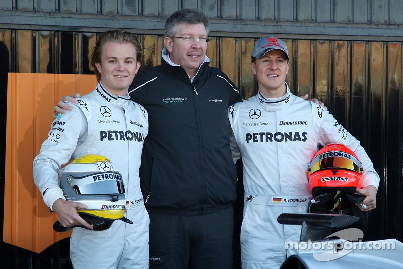 Nico Rosberg, Mercedes GP, Ross Brawn Director de Equipo, Mercedes GP, Michael Schumacher, Mercedes GP