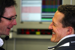 Andrew Shovlin, Mercedes GP Petronas, Senior Race Engineer to Michael Schumacher, Michael Schumacher, Mercedes GP Petronas