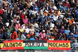 Fans with a banner of Fernando Alonso, Scuderia Ferrari
