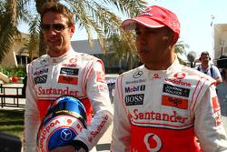 Jenson Button, McLaren Mercedes en Lewis Hamilton, McLaren Mercedes