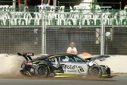 Audi R8 GT3 of Mark Eddy crashes during qualifying