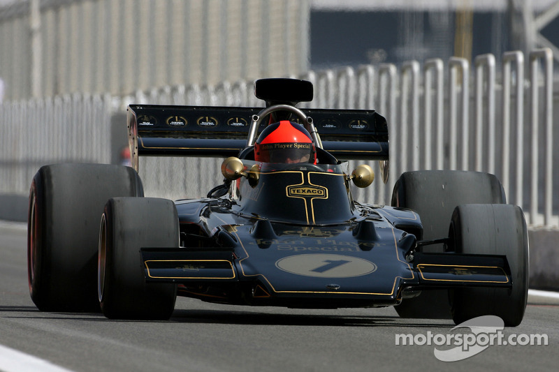 Emerson Fittipaldi, 1972 and 1974 F1 World Champion drives the 1972 Lotus 72D