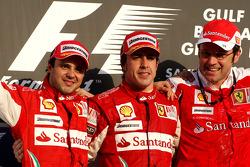 Podium: race winner Fernando Alonso, Scuderia Ferrari, with second place Felipe Massa, Scuderia Ferrari, and Stefano Domenicali, Scuderia Ferrari Sporting Director