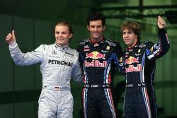 Polepositie Mark Webber, Red Bull Racing, 2de Nico Rosberg, Mercedes GP, 3de Sebastian Vettel, Red Bull Racing