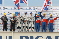 LMP2 podium: class winners Nick Leventis, Danny Watts and Jonny Kane, second place Richard Hein and Guillaume Moreau, third place Thomas Erdos, Mike Newton and Andy Wallace