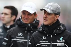 Michael Schumacher, Mercedes GP walk the circuit, Nico Rosberg, Mercedes GP
